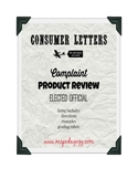 Consumer Letters (Complaint, Product Review, Elected Official)
