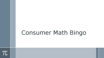 Consumer Math Bingo (One-Step): Tax, Tip, Discount, Markup, Markdown...etc.