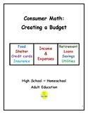Consumer Math:  Creating a Budget