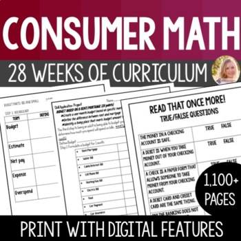 Consumer Math Curriculum Packet + 4 Differentiated Projects - High School SpEd