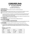 Consumer Math Game Puzzle with Worksheet