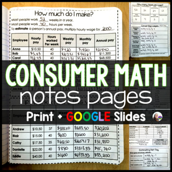Consumer Math Interactive Notebook Pages