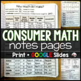Consumer Math Notes Pages - print and digital for distance