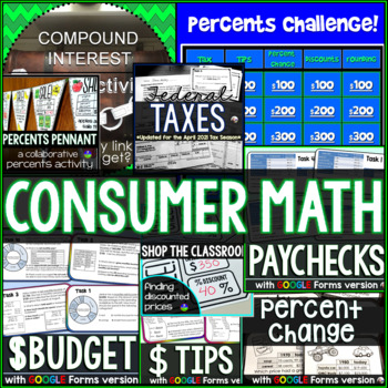 Consumer Math Activities Bundle - Financial Literacy
