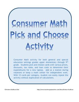 Consumer Math Pick and Choose Activity