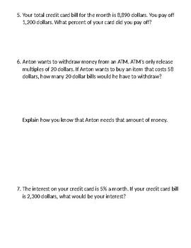 Consumer Math Quiz