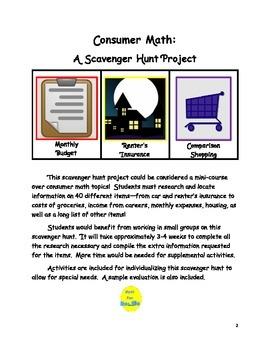Consumer Math Scavenger Hunt