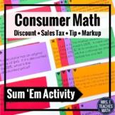 Consumer Math Activity - Discount, Sales Tax, Markup, Tip