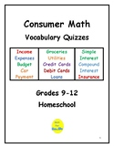 Consumer Math Vocabulary Quizzes