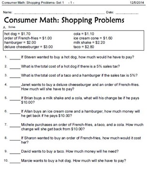 Consumer Math Word Problems: Interest, Wages, Shopping, and Money in Words