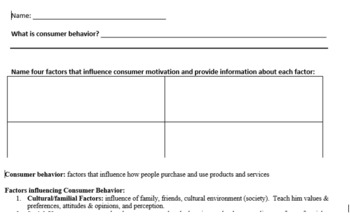 Consumer Motivation Graphic Organizer with Answer Key