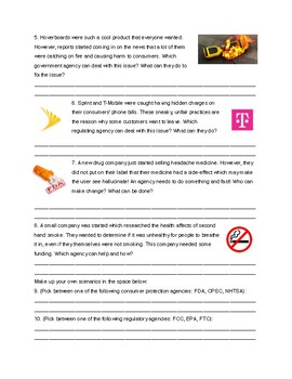 Consumer Rights Notes & Practice activity