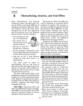 Consumer Spending: Consumer Rights-Telemarketing, Internet, and Trial Offers