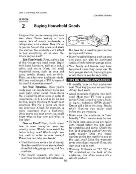 Consumer Spending: Shopping for Goods-Buying Household Goods