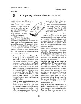 Consumer Spending: Shopping for Services-Comparing Cable and Other Services