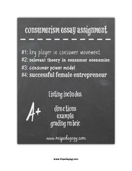 Consumerism Essay Assignment
