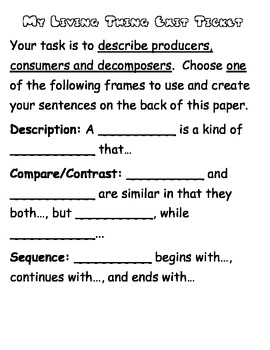 Consumers, Producers and Decomposers Top Hat Organizer and Summary Frames