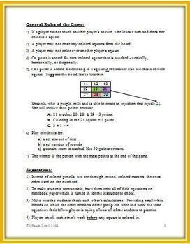 Contact! A Math Game to Practice Math Facts and the Order of Operations