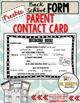 Contact Card For Parents (Freebie!)