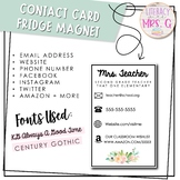 Contact Card + Fridge Magnet - Floral
