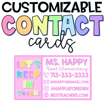 Contact Cards / Magnets Cute Bright Modern Editable