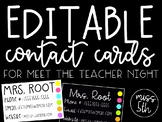 Contact Cards for Meet the Teacher Night