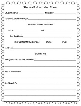 Student Information and Contact Form