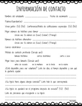 Contact Information Form - Bilingual!
