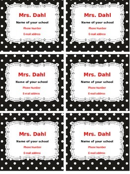 Contact Information Magnets for Parents