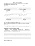 Contact Information sheet / Student Family Information