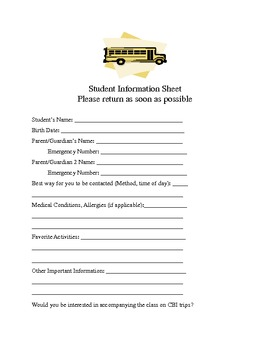 Contact Log and Student Info Sheet