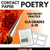 Contact Paper Poetry--Engaging Poetry Activity for ELA Gra