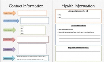 Contact and Health Information Form-editable!