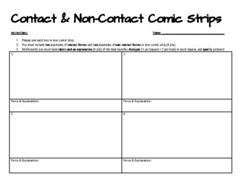 Contact vs. Non-Contact Forces Comic Strips Activity
