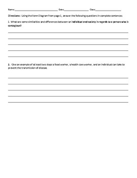 Contagious Diseases Worksheet