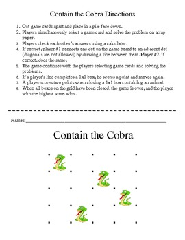 Contain the Cobra - Basic Facts of Division Game