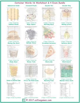 Container Words 16 Worksheet- 4 Exam Bundle