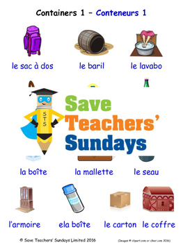 Containers 1 in French Worksheets, Games, Activities and Flash Cards