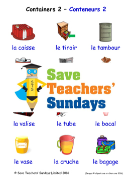 Containers 2 in French Worksheets, Games, Activities and Flash Cards