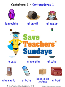 Containers in Spanish Worksheets, Games, Activities and Flash Cards (1)