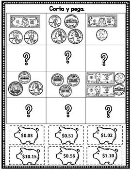 Contando Dinero:  Corta y pega Actividades para primero, segundo, y tercer grado
