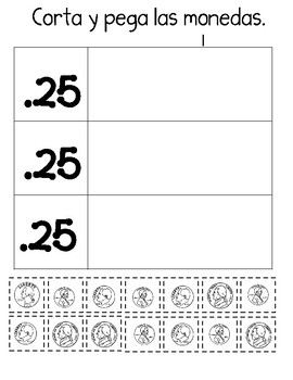 Contando Dinero:  Spanish Counting Money Worksheets