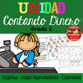 Unidad Contando Dinero Counting Money Task Cards/Assessments/WS in Spanish 2nd
