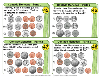Contando Monedas (Counting Coins - Spanish Version - 100 Task Cards)