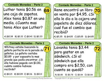Contando Monedas (Counting Coins - Spanish Version - 100 Task Cards)