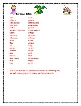 Conte de fée (Fairy tale in French) word search