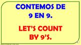 Contemos de 9 en 9 desde 0 hasta 100. / PPT. cono audio.