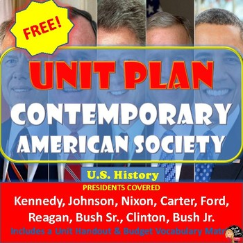 Contemporary America Unit Plan & Student Handouts FREE!