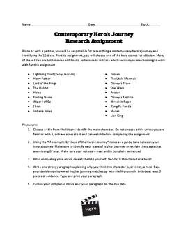 Contemporary Hero's Journey Activity