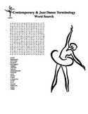 Contemporary and Jazz Dance Terminology Word Search